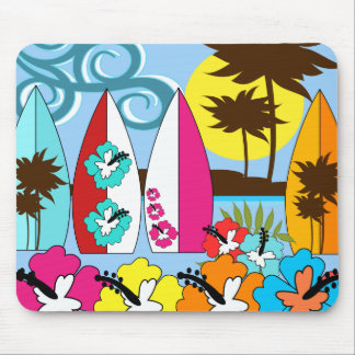 Surf Shop Surfing Ocean Beach Surfboards Palm Tree Mouse Pad