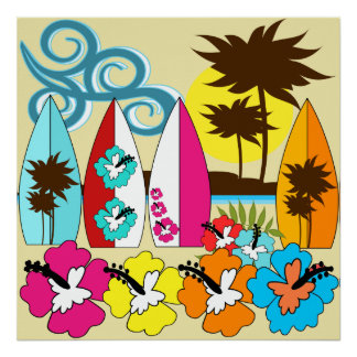 Surf Shop Surfing Ocean Beach Surfboards Palm Tree Poster
