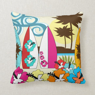 Surf Shop Surfing Ocean Beach Surfboards Palm Tree Throw Pillow