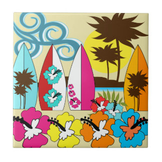 Surf Shop Surfing Ocean Beach Surfboards Palm Tree Tile