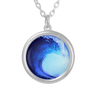 surf style blue wave silver plated necklace