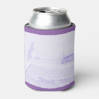 Surf surfboard shack attack surfing purple white can cooler