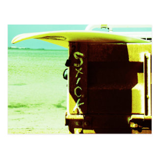 Surf surfboard stick surfing green yellow beach postcard
