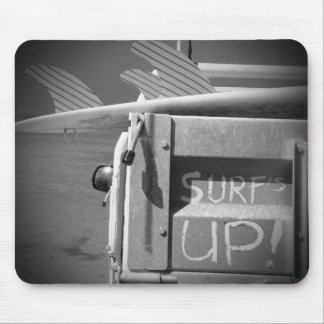 Surf surfboard surf's Up surfing black and white Mouse Pad