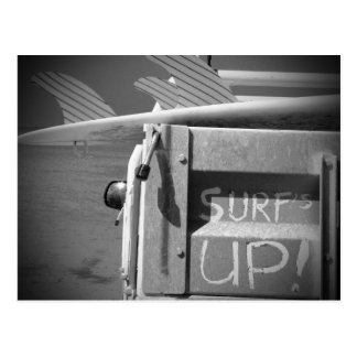 Surf surfboard surf's Up surfing black and white Postcard