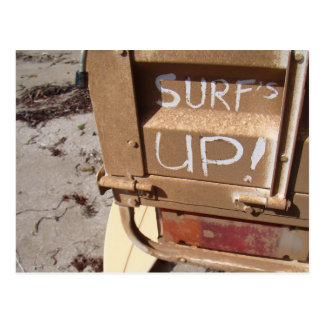 Surf surfboard surf's up surfing grey brown postcard