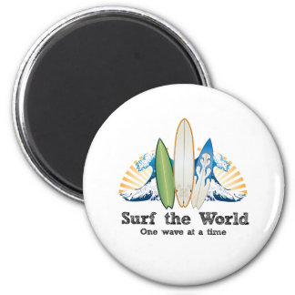 Surf the World, One Wave at a Time 2 Inch Round Magnet
