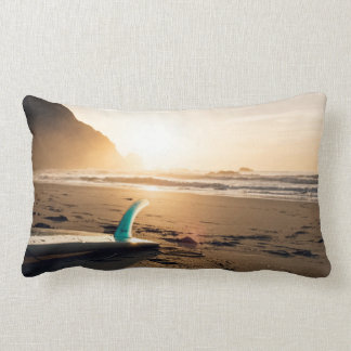 Surf Themed, Surfboard Lays On The Sandy Beach As Lumbar Pillow