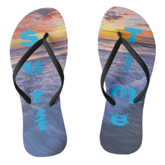 Surf Time! - Beach waves at sunset Flip Flops
