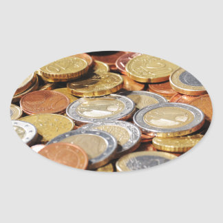 Surface from euro coins oval sticker