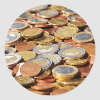 Surface from euro coins round sticker