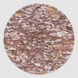 Surface of a red sandstone with siliceous geods classic round sticker