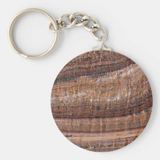 Surface of carbonate rock with weathering traces basic round button keychain