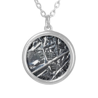 Surface of pure silicon crystals silver plated necklace