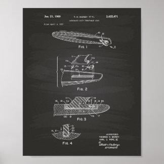 Surfboard 1969 Patent Art Chalkboard Poster