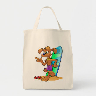 Surfboard and dog reusable grocery bag tote