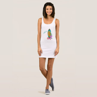 Surfboard and Flowers Sleeveless Dress