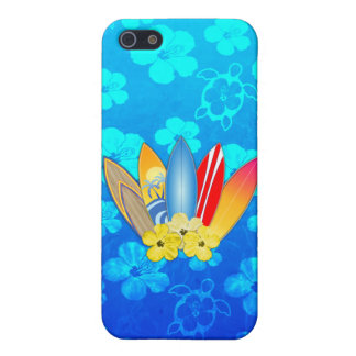 Surfboard and Hibiscus Flowers iPhone 5 Case