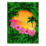 Surfboard and Hibiscus Flowers Post Cards