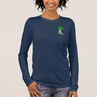 Surfboard and Palm Tree Long Sleeve T-Shirt