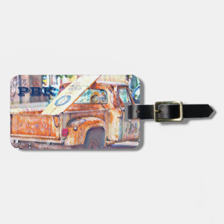 Surfboard on back of Truck Luggage Tag