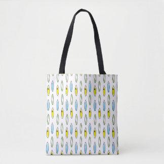 Surfboard patterned tote bag