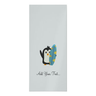 "Surfboard Penguin 4"" X 9.25"" Invitation Card"