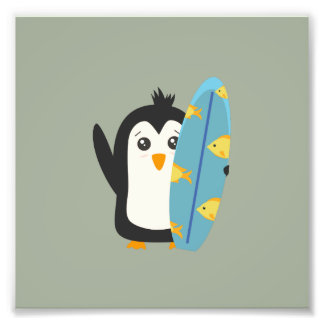 Surfboard Penguin Photographic Print