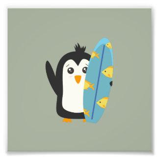 Surfboard Penguin Photographic Print