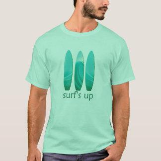 Surfboard Surfs Up Mens Mint Green T T-Shirt