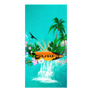 Surfboard with palm and flowers personalized photo card