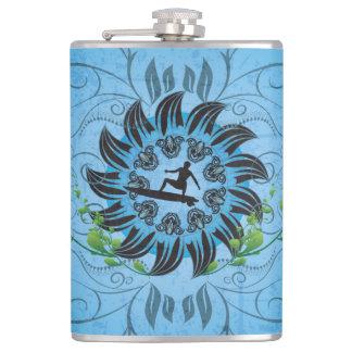 Surfboarder on blue background hip flask