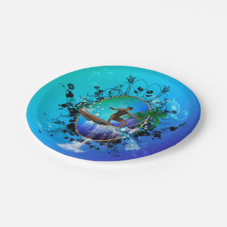 Surfboarder with water paper plate