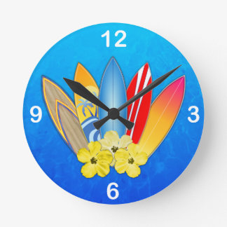 Surfboards And Hibiscus Clock