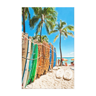 Surfboards at Waikiki Beach, Hawaii Canvas Print