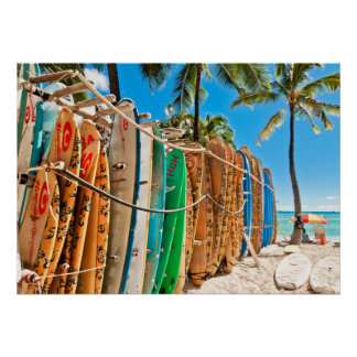 Surfboards at Waikiki Beach, Hawaii Poster