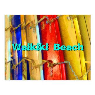 Surfboards at Waikiki Beach Postcard