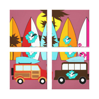 Surfboards Beach Bum Surfing Hippie Vans Canvas Print