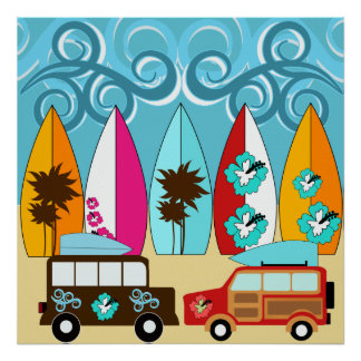 Surfboards Beach Bum Surfing Hippie Vans Poster