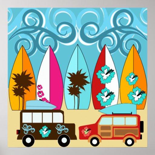 Surfboards Beach Bum Surfing Hippie Vans Print