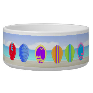 Surfboards Beach Dog Bowl