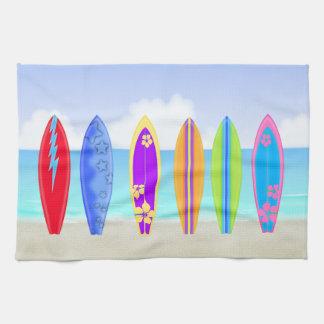 Surfboards Beach Kitchen Towel