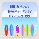 Surfboards Beach Party Favour Square Sticker