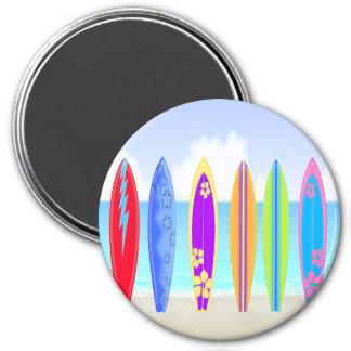Surfboards Beach Round Magnet