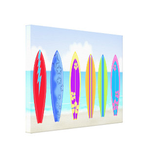 Surfboards Beach Wrapped Canvas Print