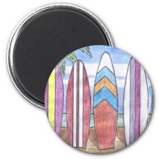 SURFBOARDS magnet (round)