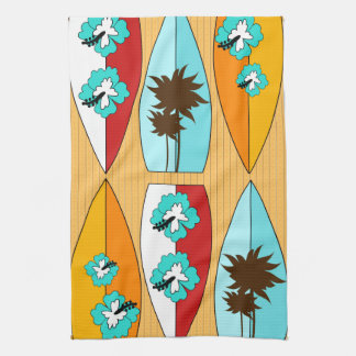 Surfboards on the Boardwalk Summer Beach Theme Kitchen Towel
