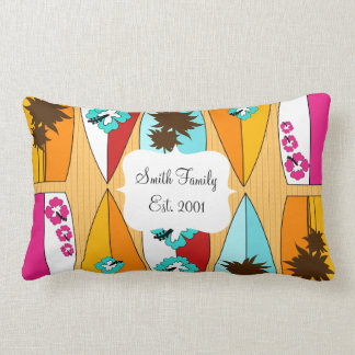Surfboards on the Boardwalk Summer Beach Theme Lumbar Pillow