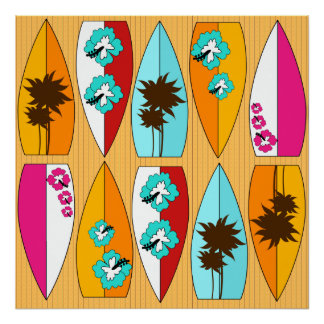 Surfboards on the Boardwalk Summer Beach Theme Poster