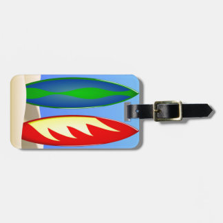 Surfboards retro surf luggage tag